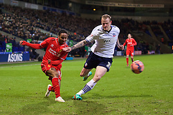 BOLTON, ENGLAND - Wednesday, February 4, 2015: Liverpool's Raheem Sterling in action against Bolton Wanderers' David Wheater during the FA Cup 4th Round Replay match at the Reebok Stadium. (Pic by David Rawcliffe/Propaganda)
