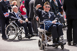 © Licensed to London News Pictures. 10/05/2015. London, UK. War veterans and servicemen parade through Whitehall as part of the VE Day, 70th anniversary celebrations. Photo credit : Stephen Chung/LNP