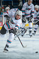 KELOWNA, CANADA - JANUARY 2: Tanner Wishnowski #9 of Kelowna Rockets warms up against the Victoria Royals on January 2, 2016 at Prospera Place in Kelowna, British Columbia, Canada.  (Photo by Marissa Baecker/Shoot the Breeze)  *** Local Caption *** Tanner Wishnowski;