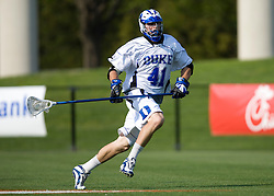 Duke defenseman Ryan McFadyen (41) in action against UNC.  The #2 ranked Duke Blue Devils defeated the #12 ranked North Carolina Tar Heels 17-6 in the semi finals of the Men's 2008 Atlantic Coast Conference tournament at the University of Virginia's Klockner Stadium in Charlottesville, VA on April 25, 2008.