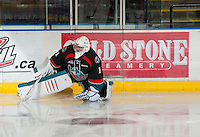 KELOWNA, CANADA - OCTOBER 18:  Jackson Whistle #1 of the Kelowna Rockets warms up on the ice as the Prince George Cougars visit the Kelowna Rockets on October 18, 2012 at Prospera Place in Kelowna, British Columbia, Canada (Photo by Marissa Baecker/Shoot the Breeze) *** Local Caption ***