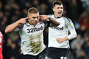 Derby County forward Martyn Waghorn celebrates scoring Derby's second goal during the EFL Sky Bet Championship match between Derby County and Barnsley at the Pride Park, Derby, England on 2 January 2020.
