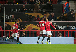 Mason Greenwood of Manchester United celebrates after scoring his sides first goal - Mandatory by-line: Jack Phillips/JMP - 07/11/2019 - FOOTBALL - Old Trafford - Manchester, England - Manchester United v Partizan - UEFA Europa League