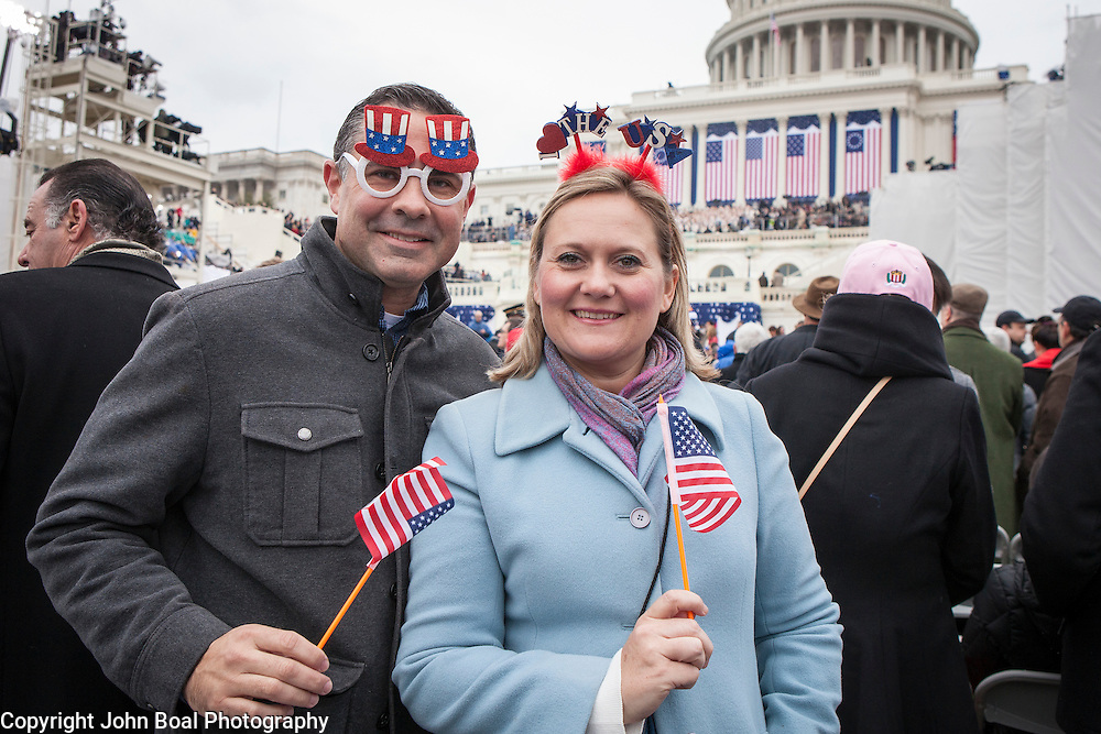 "Paul and Melissa McDermott, of Bradenton, FL, during the ceremonies preceding the Inauguration of Donald Trump as the 45th President of the United States, January 20, 2017.  When asked about their hopes for the Trump administration, Paul said he's ""hopeful to get a Supreme Court nominee as close to Scalia as we can get...we need to get back on course...""  Melissa expressed hope that the Trump administration could overturn Roe v Wade.  John Boal Photography"