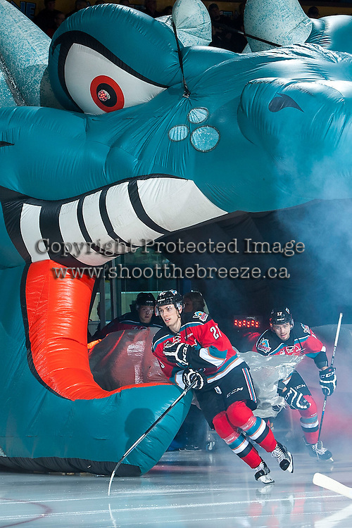 KELOWNA, CANADA - NOVEMBER 11: Justin Kirkland #23 of Kelowna Rockets enters the ice against the Vancouver Giants on November 11, 2015 at Prospera Place in Kelowna, British Columbia, Canada.  (Photo by Marissa Baecker/ShoottheBreeze)  *** Local Caption *** Justin Kirkland;