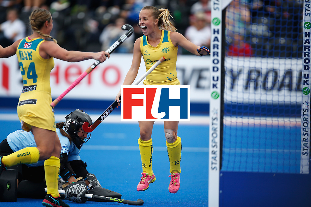 LONDON, ENGLAND - JUNE 19: Emily Smithof Australia celebrates her goal during the FIH Women's Hockey Champions Trophy 2016 match between Australia and New Zealand at Queen Elizabeth Olympic Park on June 19, 2016 in London, England.  (Photo by Joel Ford/Getty Images)