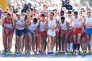 (3R) Yared Shegumo and (2R) Henryk Szost both from Poland competes in men's marathon on the start line during the Sixth Day of the European Athletics Championships Zurich 2014 at Letzigrund Stadium in Zurich, Switzerland.<br /> <br /> Switzerland, Zurich, August 17, 2014<br /> <br /> Picture also available in RAW (NEF) or TIFF format on special request.<br /> <br /> For editorial use only. Any commercial or promotional use requires permission.<br /> <br /> Photo by © Adam Nurkiewicz / Mediasport