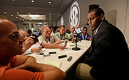 Florida defender Dominique Easley talks with reporters during the SEC football Media Days in Hoover, Ala., Tuesday, July 16, 2013. (AP Photo/Dave Martin)