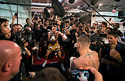 Conor McGregor shadow boxes before a mirror during a media workout within the gym at the UFC Performance Institute on Friday, August 11, 2017.   L.E. Baskow
