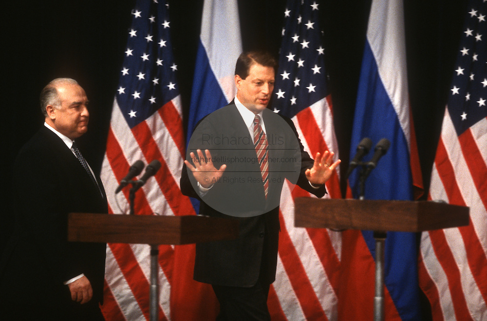 US Vice President Al Gore with Russian Prime Minister Viktor Chernomyrdin during a joint news conference February 7, 1997 In Washington, DC.