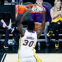 08 October 2017: Los Angeles Lakers forward Julius Randle (30) dunks the ball during the LA Lakers 75-69 victory over the Sacramento Kings, at the T-Mobile Arena, Las Vegas, Nevada, USA.