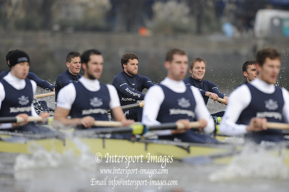 Putney, GREAT BRITAIN,    left  Alex HEARNE, 6 Tom SOLESBURY, 7 George BRIDGEWATER viewed through the challenging crew, during the 2008 Varsity/Oxford University [OUBC] Trial Eights, raced over the championship course. Putney to Mortlake, on the River Thames. Thurs. 11.08.2008 [Mandatory Credit, Peter Spurrier/Intersport-images]. Varsity Boat Race, Rowing Course: River Thames, Championship course, Putney to Mortlake 4.25 Miles,