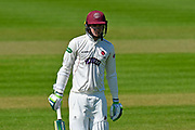 Wicket - Eddie Byrom of Somerset walks back to the pavilion after being dismissed by Joe Leach of Worcestershire during the Specsavers County Champ Div 1 match between Somerset County Cricket Club and Worcestershire County Cricket Club at the Cooper Associates County Ground, Taunton, United Kingdom on 20 April 2018. Picture by Graham Hunt.
