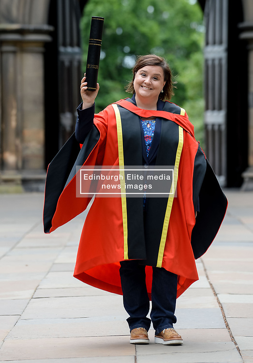 Pictured: Comedian Susan Calman after getting her honorary degree from the University of Glasgow.<br /> <br /> © Dave Johnston / EEm