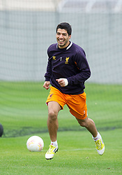 LIVERPOOL, ENGLAND - Wednesday, October 24, 2012: Liverpool's Luis Alberto Suarez Diaz during a training session at Melwood Training Ground ahead of the UEFA Europa League Group A match against FC Anji Makhachkala. (Pic by David Rawcliffe/Propaganda)