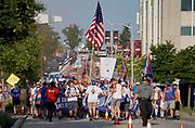 FC Cincinnati fans march to Nipper Stadium prior to the  MLS soccer match between FC Cincinnati and D.C. United, Thursday, July 18, 2019, in Cincinnati, OH. D.C. United defeated FC Cincinnati 4-1. (Jason Whitman/Image of Sport)