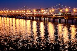 United States, California, San Francisco, pier with sternwheeler tour boat and Bay Bridge