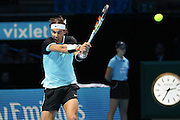 Rafael Nadal with a forehand during the ATP World Tour Finals at the O2 Arena, London, United Kingdom on 20 November 2015. Photo by Phil Duncan.