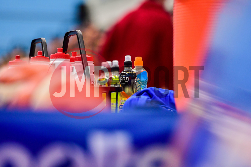 iPro drink isontic on the bench - Photo mandatory by-line: Ryan Hiscott/JMP - 03/11/2018 - BASKETBALL - SGS Wise Arena - Bristol, England - Bristol Flyers v Newcastle Eagles - British Basketball League Championship