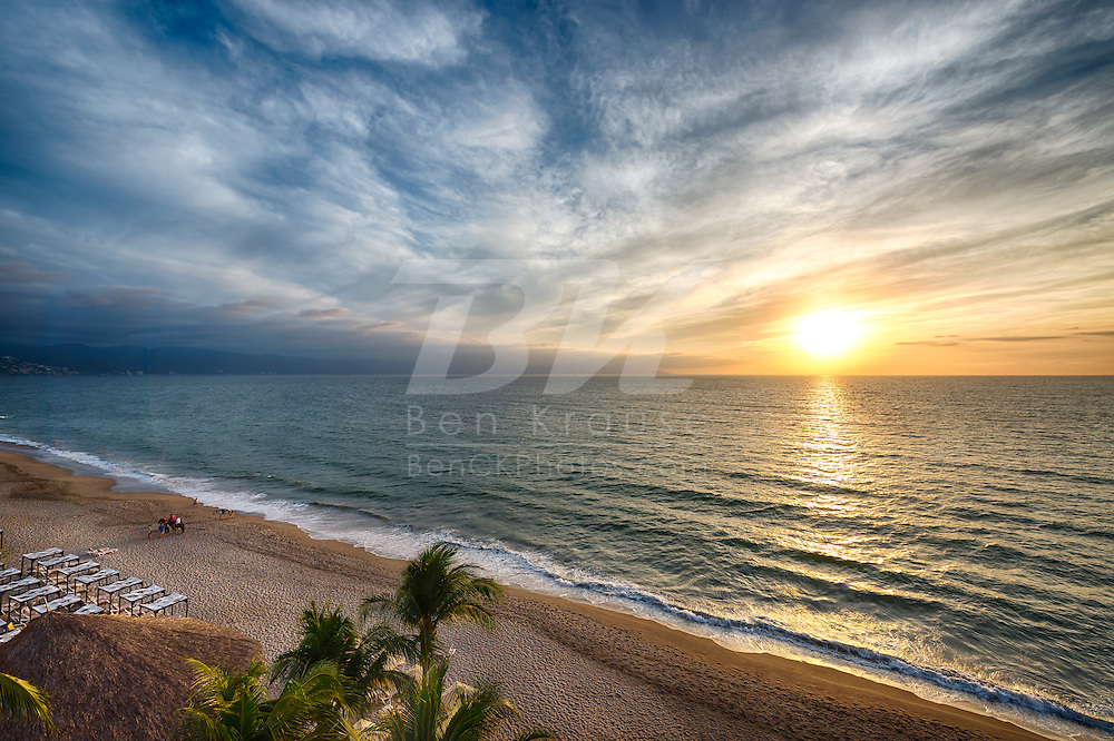 The sun sets off the coast of Puerto Vallarta, Mexico on February 25, 2013.