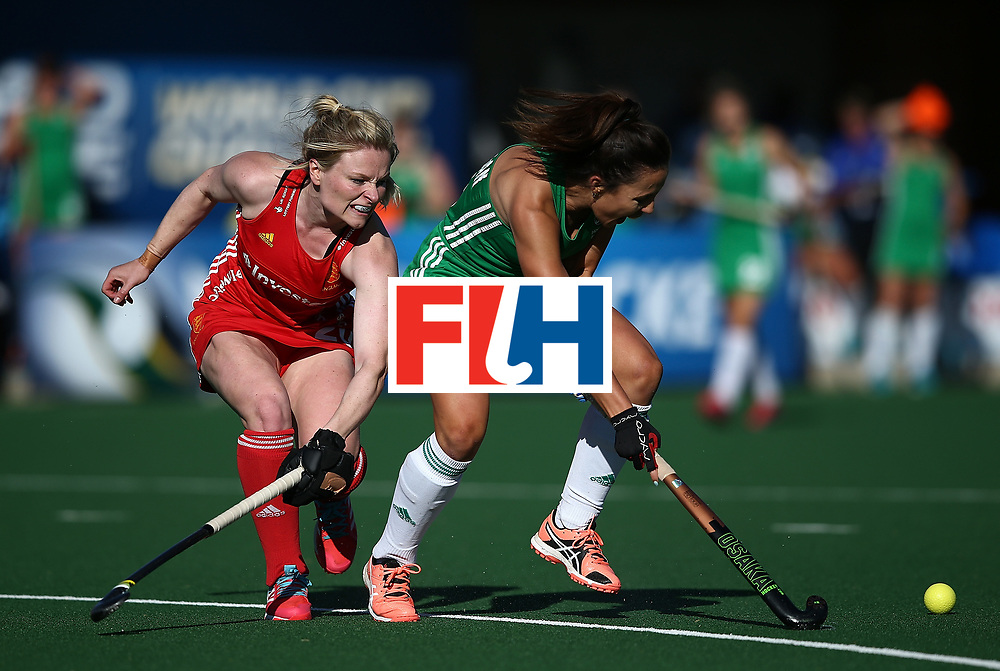JOHANNESBURG, SOUTH AFRICA - JULY 16:  Anna O'Flanagan of Ireland battles with Hollie Webb of England during day 5 of the FIH Hockey World League Women's Semi Finals Pool A match between England and Ireland at Wits University on July 16, 2017 in Johannesburg, South Africa.  (Photo by Jan Kruger/Getty Images for FIH)