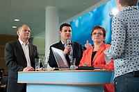 """02 JUN 2010, BERLIN/GERMANY:<br /> Olaf Scholz, SPD, Stellv. Fraktionsvorsitzender, Hubertus Heil, SPD, Stellv. Fraktionsvorsitzender, Elke Ferner, SPD, stellv. Fraktionsvorsitzende und Bundesvorsitzende der Arbeitsgemeinschaft Sozialdemokratischer Frauen, und Judith Schulte-Loh, Moderatorin, (v.L.n.R.), SPD Zukunftswerkstatt """"Gut und sicher leben - Onlinekonferenz"""", Willy-Brandt-Haus<br /> IMAGE: 20100602-01-230"""