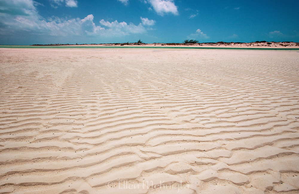 Windswept patterns in the sand at Half Moon Bay in Turks & Caicos