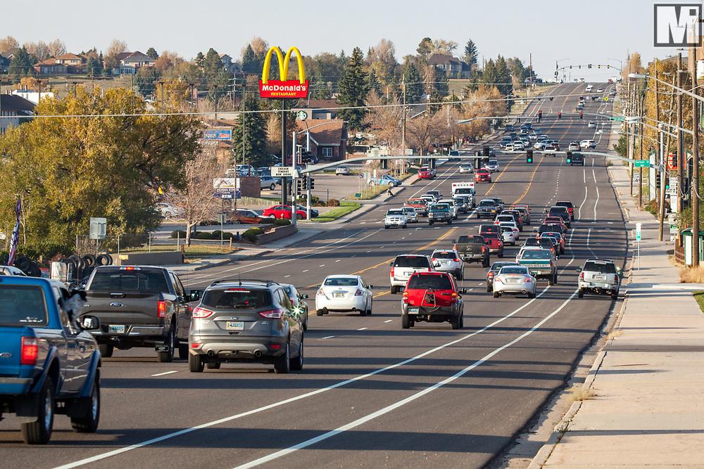 Traffic on Yellowstone Road in Cheyenne, Wyoming.