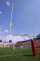 9 April 2006:  Yellow football goal posts against a blue sky at the Los Angeles Memorial Coliseum sporting stadium venue. Detail, stock photo.