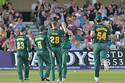 Notts celebrate during the NatWest T20 Blast Quarter Final match between Notts Outlaws and Somerset County Cricket Club at Trent Bridge, West Bridgford, United Kingdom on 24 August 2017. Photo by Simon Trafford.