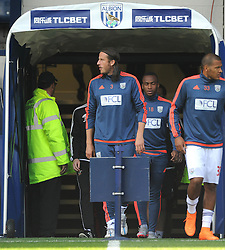 Saido Berahino of West Bromwich Albion closes his eyes as he walks out of the players tunnel prior to kick off against Southampton after tweeting he will never play for Jeremy Peace and West Bromwich Albion again - Mandatory byline: Dougie Allward/JMP - 07966386802 - 12/09/2015 - FOOTBALL - The Hawthorns -Birmingham,England - West Brom v Southampton - Barclays Premier League