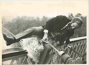 First Dangerous Sports club bungee jump. Clifton Suspension Bridge. Bristol. 1 April 1979. Photograph by Dafydd Jones. 66 Stockwell Park Rd. London Sw9 0Da. 0207 733 0108