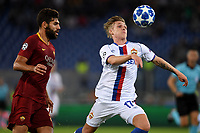 Federico Fazio of AS Roma and Arnor Sigurdsson of CSKA compete for the ball during the Uefa Champions League 2018/2019 Group G football match between AS Roma and CSKA Moscow at Olimpico stadium Allianz Stadium, Rome, October, 23, 2018 <br />  Foto Andrea Staccioli / Insidefoto
