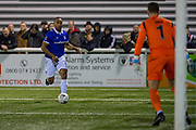 Oldham Athletic forward Chris O'Grady (10) on his way to scoring a goal (0-2) during the The FA Cup match between Maidstone United and Oldham Athletic at the Gallagher Stadium, Maidstone, United Kingdom on 1 December 2018. Photo by Martin Cole