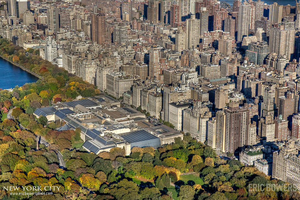 Right above Central Park with a view of the rooftop of the Metropolitan Museum of Art along Fifth Avenue and the Upper East Side