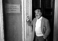 March 1997..Swiss actor Mario Adorf in Rome..in front of the entry of the Sacra Ruota in in the Building of the Cancelleria Piazza della Cancelleria..