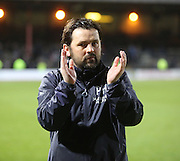 Dundee manager Paul Hartley applauds the support at full time  - Dundee v Dundee United - SPFL Premiership at Dens Park<br /> <br />  - &copy; David Young - www.davidyoungphoto.co.uk - email: davidyoungphoto@gmail.com