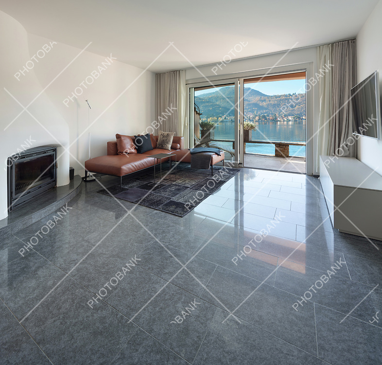 Interior of house, modern living room, marble floor