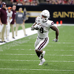 Aug 31, 2019; New Orleans, LA, USA; Mississippi State Bulldogs running back Kylin Hill (8) runs against the Louisiana-Lafayette Ragin Cajuns during the second half at the Mercedes-Benz Stadium. Mandatory Credit: Derick E. Hingle-USA TODAY Sports