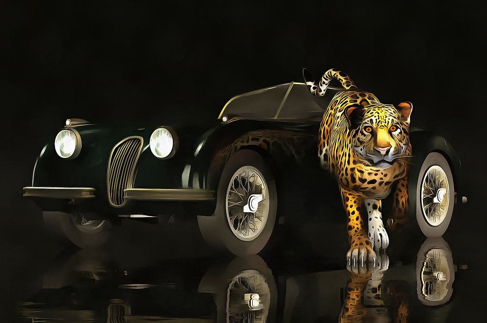 The Jaguar can come in two forms. In this memorable, beautiful piece, we see a classic example of the iconic Jaguar vehicle. Near to the car, as though it is leaping out right at you, is the animal jaguar. Both are capable of expressing the same thoughts. Both are examples of power, beauty, and grace. These are qualities that when expressed in a certain way, are capable of taking on a quality that can only be described as timeless. This is a powerful image that can look perfect in a wide assortment of spaces. Available as t-shirts, wall art, or interior home décor products. .<br />