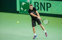 Tom Kocevar Desman of Slovenia at warming up during the Day 2 of Davis Cup 2018 Europe/Africa zone Group II between Slovenia and Poland, on February 4, 2018 in Arena Lukna, Maribor, Slovenia. Photo by Vid Ponikvar / Sportida