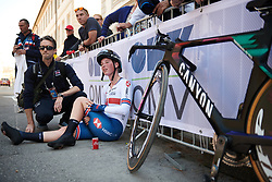 Alice Barnes (GBR) recovers after the UCI Road World Championships 2018 - Elite Women's ITT, a 27.7 km individual time trial in Innsbruck, Austria on September 25, 2018. Photo by Sean Robinson/velofocus.com