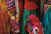 Women in fine sari's at the Udappu fire walking festival.