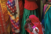 Women in fine sari's at the Udappu fire walking festival.