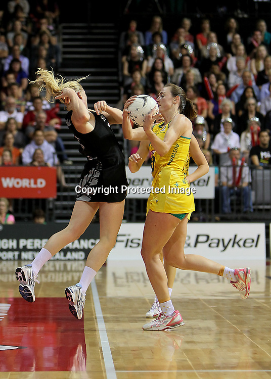 Australia's Rebecca Bulley collides with New Zealand's Laura Langman during the New World Quad Series - Silver Ferns v Australian Diamonds, 1 November 2012.  Photo:  Bruce Lim / www.photosport.co.nz