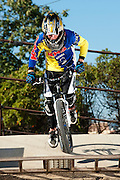 Blake Carney does a gate start to train for mountain cross racing for team KHS