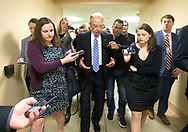 Sen. Chuck Grassley is surrounded by reporters as he heads from the Senate Subway to the Senate Floor for a vote during the second day of hearings before the Senate Judiciary Committee for Neil Gorsuch to become an Associate Justice of the US Supreme Court in the United States Capitol building in Washington, D.C. on Tuesday, Mar. 21, 2017.