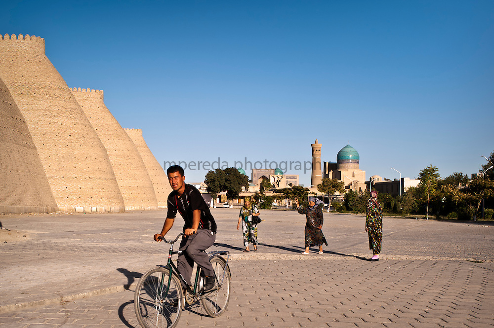 Bukhara. People beside The Ark walls