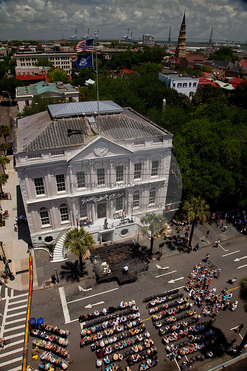 Charleston, SC - May 22:  Overview of the opening ceremonies for the Spoleto and Piccolo Spoleto Festival at the Charleston City Hall  as seen from historic St. Michael's Church built in 1762 May 22, 2009 in Charleston, SC. The festival features more than 700 art events over 17-days filling Charleston's historic theaters, churches and outdoor spaces.    (Photo by Richard Ellis/Getty Images)