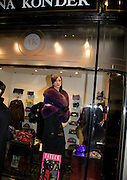 BRUNA KONDER MODELLING IN HER SHOP WINDOW, Patsy Kensit turns on Burlington Arcade Christmas Lights, Burlington Arcade, London, W1. 26 November 2008 *** Local Caption *** -DO NOT ARCHIVE -Copyright Photograph by Dafydd Jones. 248 Clapham Rd. London SW9 0PZ. Tel 0207 820 0771. www.dafjones.com